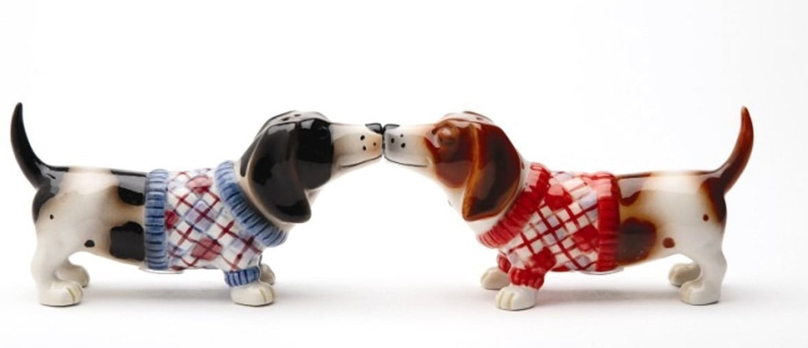 A ceramic set of salt and pepper shakers with magnetic snout inserts because ~puppy love~ is forever.