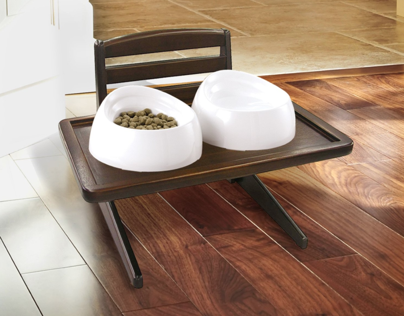 A doggy dining tray in a mahogany finish so your pup can eat like the sophisticated family member he really is.