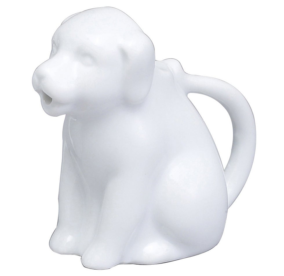 A porcelain mini creamer complete with a drip-free spout; it can even handle hot contents, like gravy.