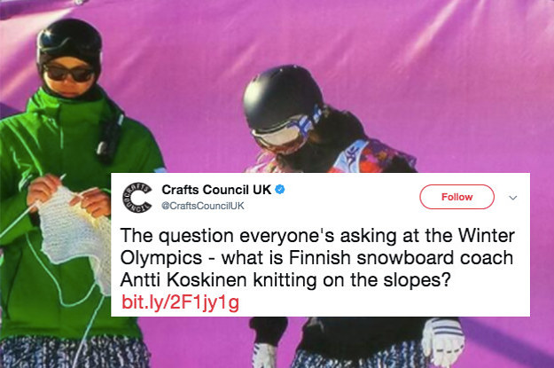 Knitting Olympics Coach : The finnish snowboarding coach knits while coaching and it