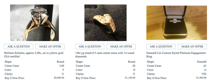Sites like HaveYouSeenTheRing and IDoNowIDont have a marketplace of sellers trying to pawn off used engagement rings and wedding bands. The prices are usually set by the seller, so you'll still have to comparison-shop in order to make sure you're getting a good price. However, you're probably aware that diamonds are a bit like cars, in that they lose most of their value right after you buy them new...so a used ring should be a great deal.