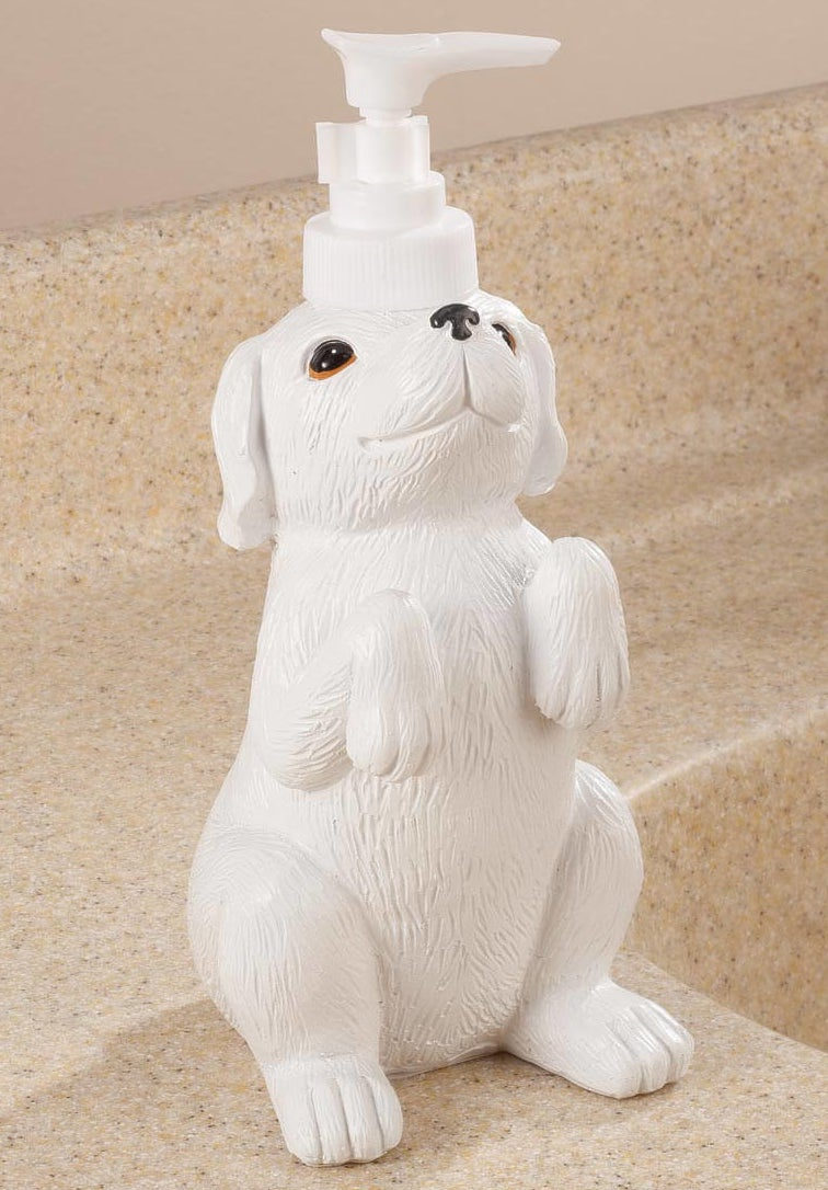 A playful soap dispenser that holds almost two cups of suds for the cleanest paws ever.