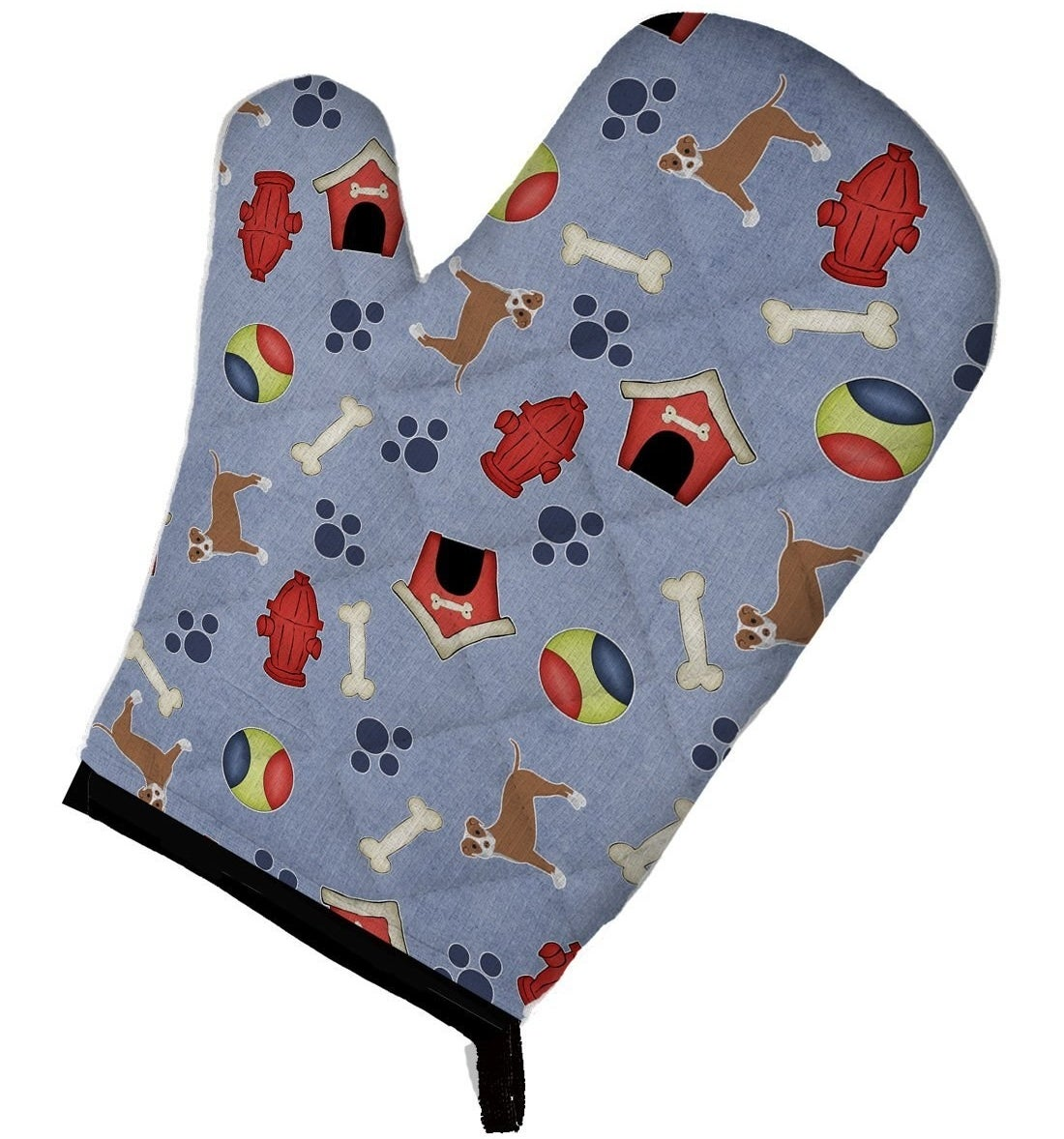 """A large oven mitt to give new meaning to the term """"hot dog"""" with five layers of quilted protection."""