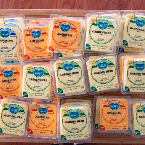 These Follow Your Heart sliced cheeses so you can still enjoy a grilled cheese sandwich on a vegan diet.