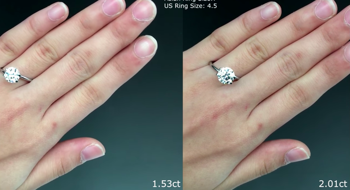 "In most cases, you'll see a noticeable difference in price between a diamond that's 2 carats versus one that's 1.7 carats. Diamonds are often priced in carat ""brackets,"" likely because people go looking for a stone that has a specific carat weight, so a stone that's slightly lower is less desirable to those shoppers. However, a stone that's only a small fraction of a carat lower will look pretty much the same size."