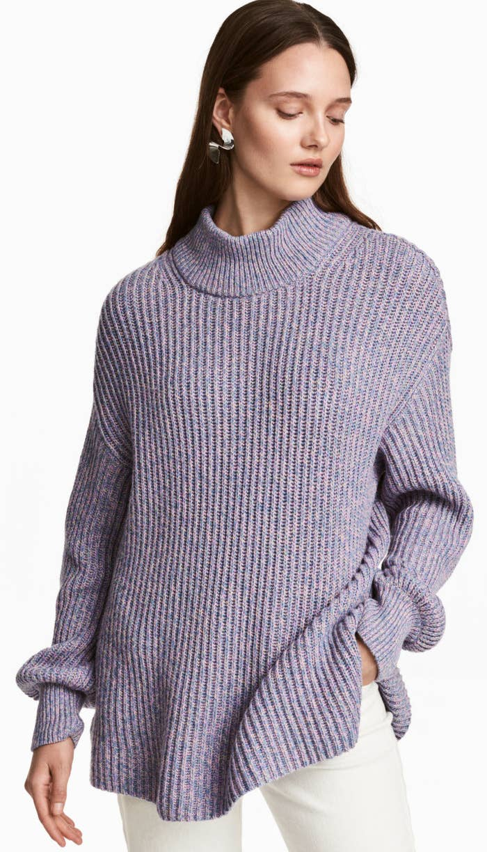 9319229d546 A rib knit sweater in the loveliest hue ever — light blue and pink woven  together. (Yes