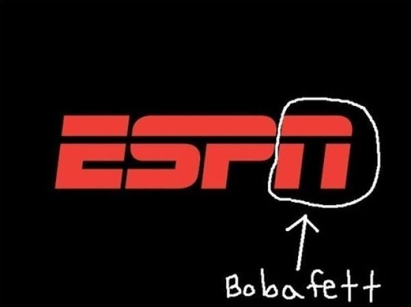 "The ""N"" in ESPN looks like a certain someone from Star Wars:"