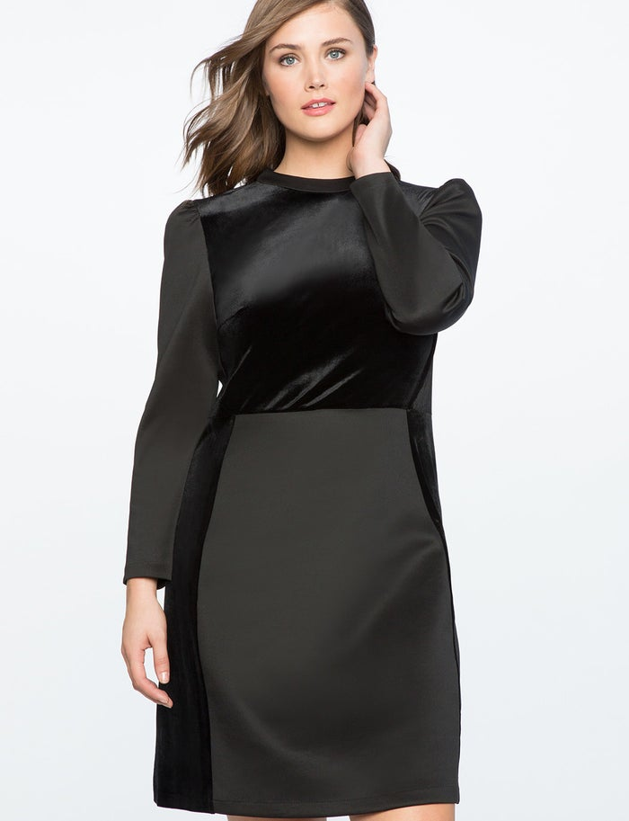 "Those velvet accents make this the perfect fancy-ish winter dress. Promising review: ""I LOVE this dress. The fit is so flattering, it feels comfortable, and it looks really high-end. I'm obsessed. Can't wait to wear it again!"" —CDFGet it from Eloquii for $32.97 (originally $110.90, available in sizes 14-24)."