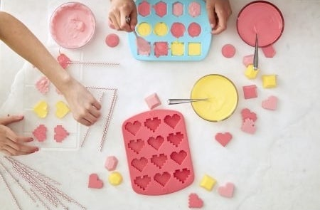 The mold has spaces for 12 hearts. You can make chocolate, gummies, ice, soap, or anything else you can think of.Get it from Walmart for $3.99.