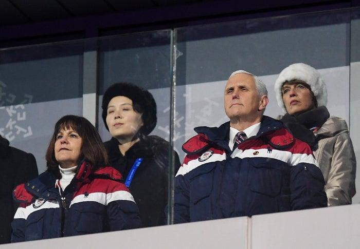 Vice President Mike Pence and North Korean Leader Kim Jong Un's sister, Kim Yo-jong, at the Winter Olympics last week.
