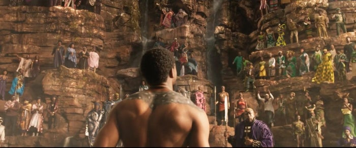 T'Challa looks up at the people of Wakanda.