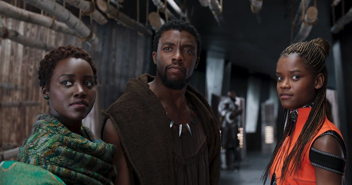 Nakia (Lupita Nyong'o), T'Challa (Chadwick Boseman), and Shuri (Letitia Wright) survey their surroundings.