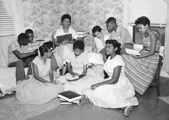 The Little Rock Nine form a study group after being prevented from entering Little Rock's Central High School in 1957.
