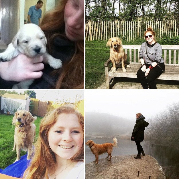 """""""The first picture is from 2011 when I first met Lexie my labradoodle (I was 13, she was two weeks old). The middle two are from last year, and the last one was taken this year, when I'm now 20 and she's 7."""" – gingerwarrior13"""