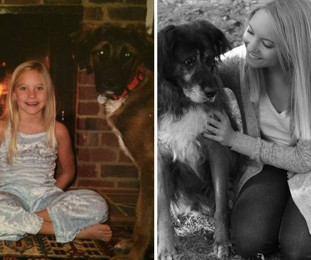 """My family got him in 2002, when I was 8 years old. The picture on the left is the two of us in 2004, and the photo on the right is from 2016. Sadly, Amos recently passed away in January at 15 years old. Rest in Peace, my sweet boy."" – juliam43"