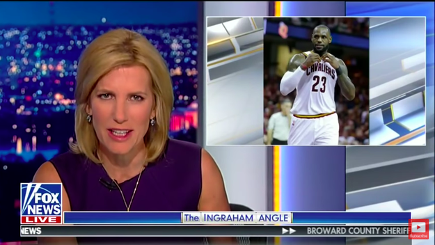 """NBA superstar LeBron James is talking politics again, and this time it's R-rated,"" Ingraham began, speaking in a sarcastic tone. ""Here's his barely intelligible, not to mention ungrammatical, take on President Trump in a new ESPN podcast."""