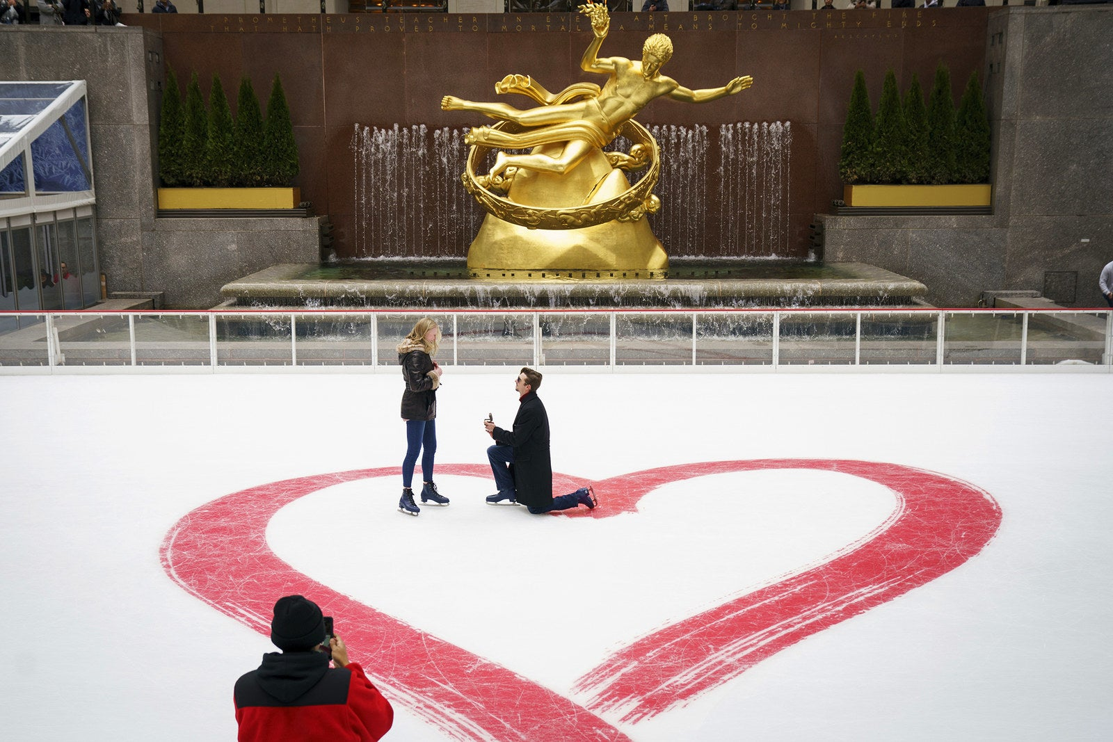 Jacob Cox proposes to Cierra Sorrells on Valentine's Day at the Rockefeller Center ice rink on Feb. 14, in New York City. Sorrells said yes.