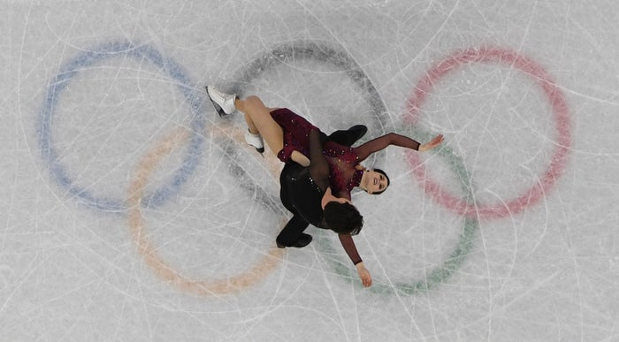 Canada's Scott Moir and Tessa Virtue compete in the free dance segment of the figure skating team event during the Pyeongchang 2018 Olympic Games at the Gangneung Ice Arena in Gangneung on Feb. 12.
