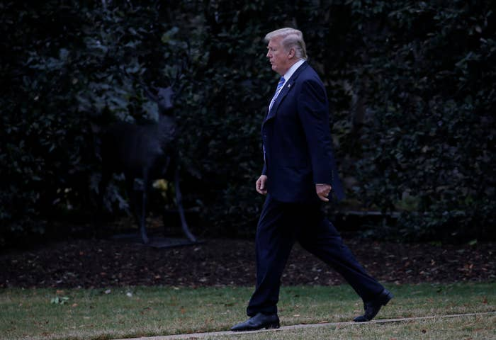President Donald Trump walks to Marine One to depart from the South Lawn of the White House on Feb. 16, 2018.