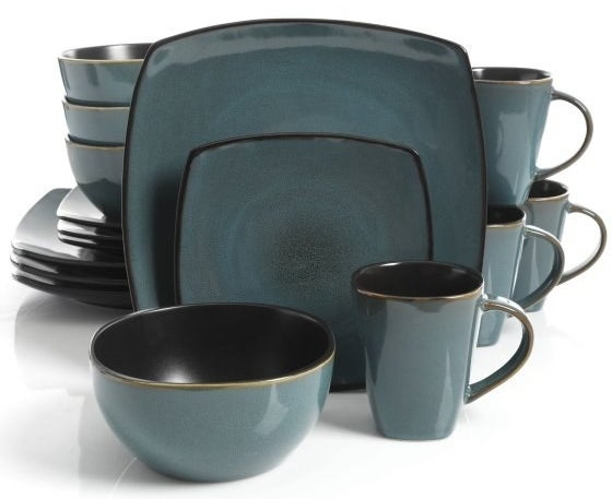"""Set includes: Four dinner plates, four dessert plates, four bowls, four mugsCare: Safe to use in dishwasher and microwavePromising review: """"As soon as we received these, we absolutely fell in love with them. They're sturdy plates and work well in the microwave and dishwasher. The whole set has a nice color with a black matte finish on the back, which is nice because it helps you grip them when washing. The bowls are huge, and I like large bowls for cereal, so these are perfect. The coffee cups are lovely as well."""" —DevilDuckyPrice: $34.96+ (available in seven colors)"""