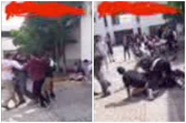 Video footage provided to BuzzFeed News shows part of the fight between Cruz and Enea. Cruz is in the white, on left. Right: Enea later being held on the ground.