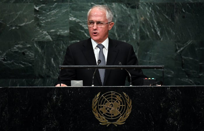 Malcolm Turnbull addressing the United Nations General Assembly.