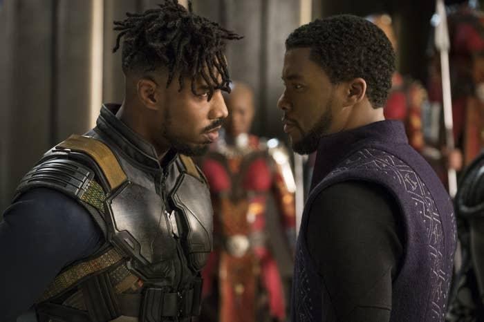 Michael B. Jordan and Chadwick Boseman in Black Panther.
