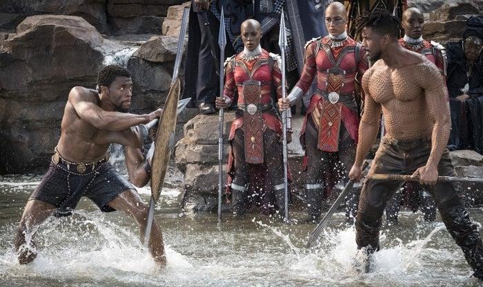 Chadwick Boseman (left) and Michael B. Jordan (right) in Black Panther.
