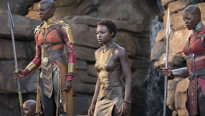 From left: Danai Gurira, Lupita Nyong'o, and Florence Kasumba in Black Panther.