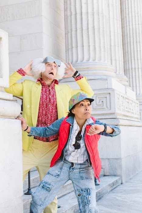 Amazingly, the spot-on costumes were completely budget-friendly. The couple spent almost a year sourcing them from thrift stores around New York and theater friends' closets, plus a few post-Halloween sales at novelty shops.