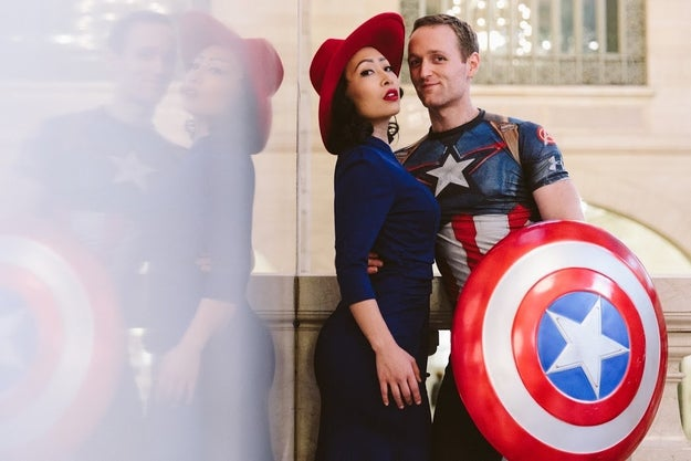 Engaged couple Jackie Nguyen and Nate Huntley met while acting in a production of Miss Saigon, so naturally, they decided to really ~get into character~ while taking their engagement pictures.