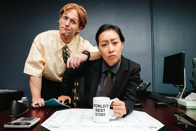 The couple of four years dressed as 11 different TV show and movie characters for their pre-wedding photo shoot, and I'm not lying when I say that these Dwight and Michael costumes aren't even the best ones.