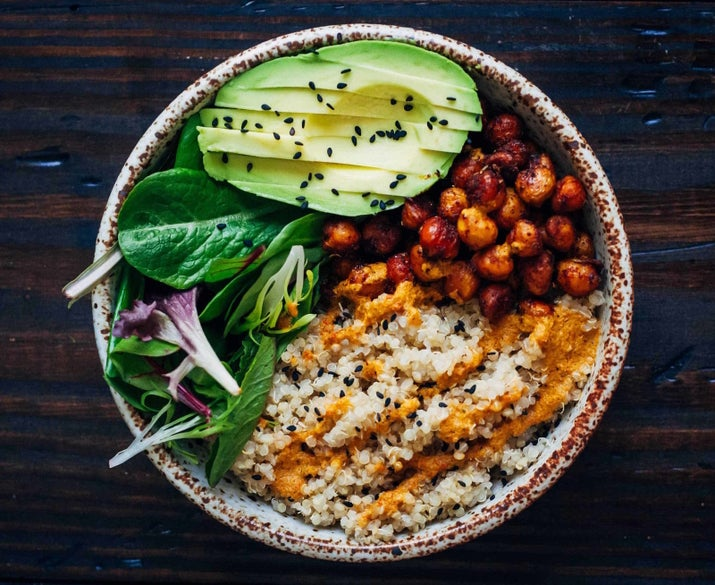 Quinoa, chickpeas, greens, and a red pepper sauce are the stars of this bowl. Get the recipe here.
