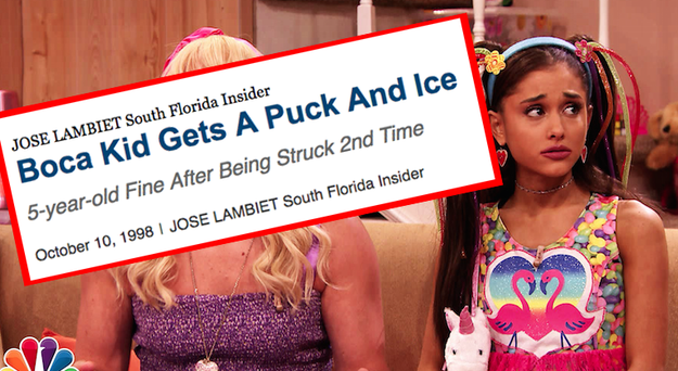 Ariana Grande was hit by a hockey puck during two different Panthers games when she was five.