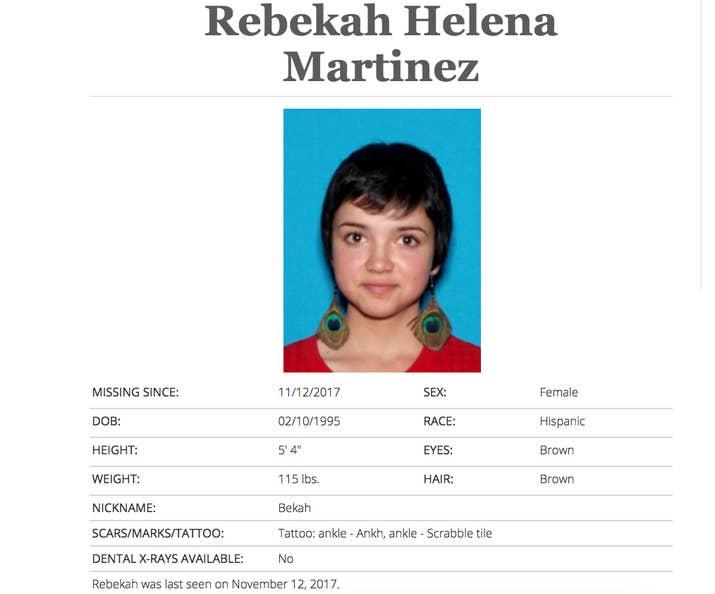 Screenshot of Bekah Martinez listed as missing in California