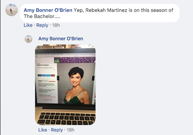 The Journal posted its story to Facebook, where Bekah was spotted by an eagle-eyed reader, and apparent Bachelor fan, Amy Bonner O'Brien. She let them know that it doesn't seem Bekah is missing, at least not on TV anyway.