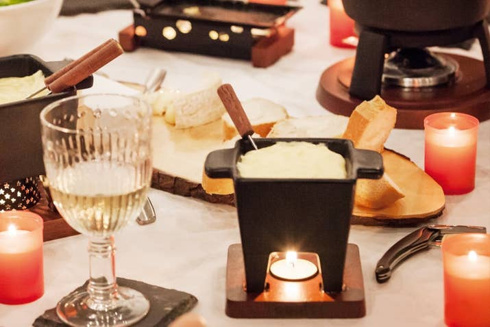 "It comes with two dipping forks which you can share with your partner or use to double fist cheese.Promising review: ""I bought this fondue set for Valentine's Day. It's perfect for two people. I've used this on several occasions and it's great! It's sturdy quality for the price, and I'd definitely recommend this to anyone who wants a little fondue set for two people."" —Amanda BGet it from Amazon for $26.99+ (available in five colors) or from Walmart for $27.76 (available in yellow)."