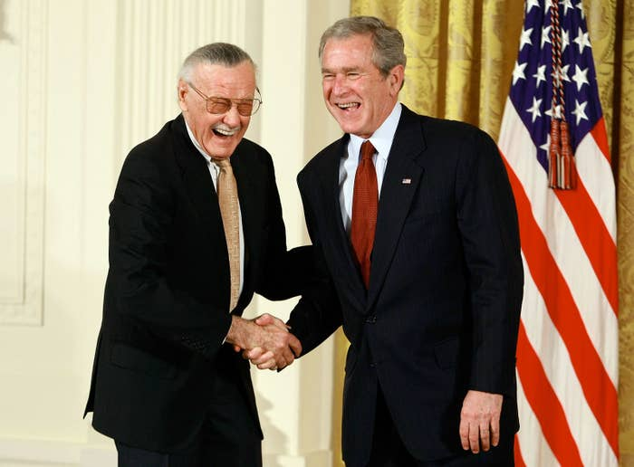 Lee in 2008 with then-president George W. Bush.