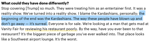 Chelsea Handler also makes an appearance. Aside from general shade and jokes about the family, when Chelsea was asked in an interview with Variety about Trump's presidential win, she basically blamed the Kardashians.