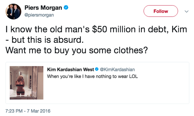 Piers also had a comment about Kim's infamous nude selfie (which we'll come to later).