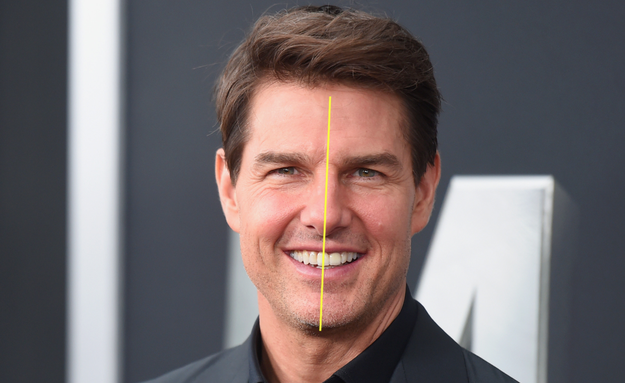 Tom Cruise's front-right tooth is in the center of his mouth.