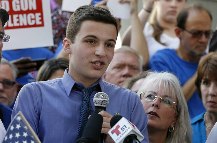 Cameron Kasky at a rally on Saturday.