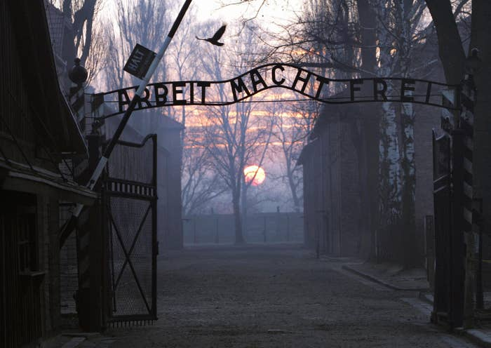 The main gate entering Auschwitz death camp.