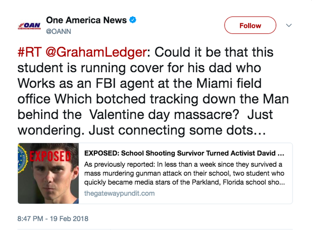 "Trump Jr. liked a tweet from conservative TV show host Graham Ledger that linked to a story by far-right, pro-Trump website, Gateway Pundit, suggesting that Hogg's father had ""coached"" his son in propagating ""anti-Trump rhetoric and anti-gun legislation."""
