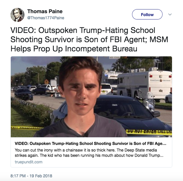"Trump Jr. also liked a tweet linking to a story by True Pundit — a far-right website that has published several false stories — which referred to Hogg as ""the kid who has been running his mouth about how Donald Trump and the GOP are teaming to help murder high school kids by upholding the Second Amendment."""