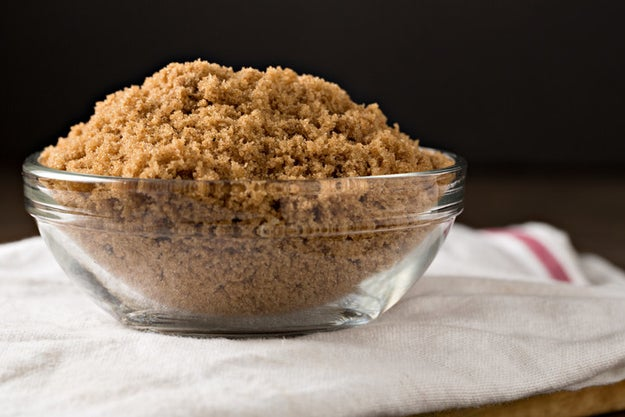 To soften brown sugar that has dried out, store it with a damp paper towel or slice of apple.