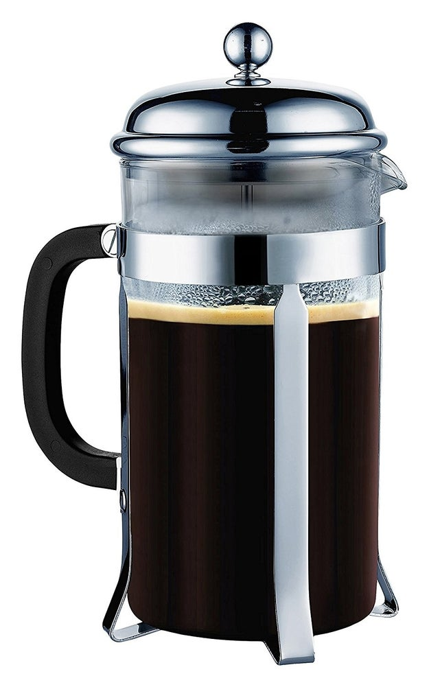 A classic glass French press sure to please French press fans, and people who have never tried pressed coffee (spoiler: you've been lied to your whole life, the most delish coffee is French press coffee).