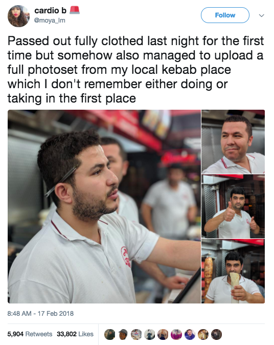 This girl, who took and uploaded a full set of portrait mode pictures from her local kebab place: