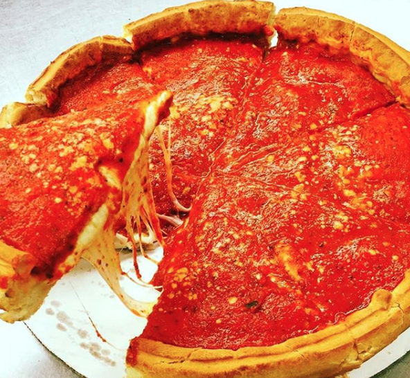 Deep-dish pizza (AKA Chicago-style pizza) — obviously.