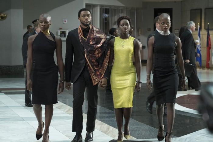 Danai Gurira, Chadwick Boseman, Lupita Nyong'o, and Florence Kasumba in Black Panther.